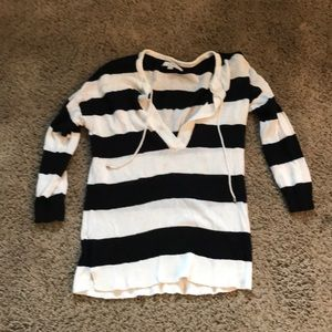 Loft Black white stripe light sweater
